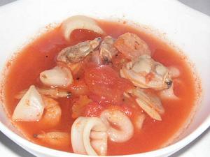 シーフードトマトスープ♪食欲がわきます^^